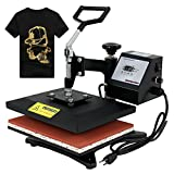 F2C Professional Swing Away 360-degree Rotation Digital Heat Transfer Sublimation T-shirt Heat Press Machine for T shirt Black (12'' X 10'')