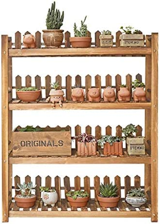 Balcony Storage Rack Plant Holder Wood Garden Display Planting Potted Plants 4 Layers Multi-Layer Rack for Indoor and Outdoor 90X28X110Cm
