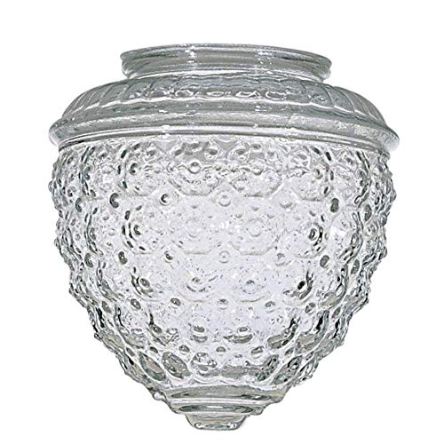 KOR K21846 6-inch Clear Pineapple Style Glass Shade - 3-1/4-Inch Fitter Opening - Lighting Fixture and Lamp Replacement
