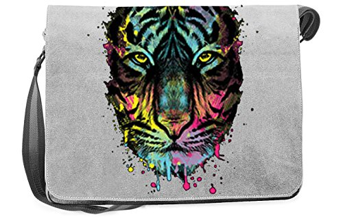 Dripping Tiger Canvas Tasche for Ladies, Farbe Grau, Pop Art Style