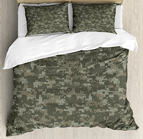 - Ambesonne Camouflage Duvet Cover Set Queen Size, Monochrome Attire Pattern Concealing Hiding in The Woods Themed Print, Decorative 3 Piece Bedding Set with 2 Pillow Shams, Army Green Sage Green