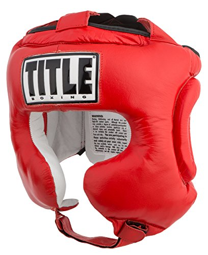 TITLE Boxing Traditional Training Headgear, Red, Regular