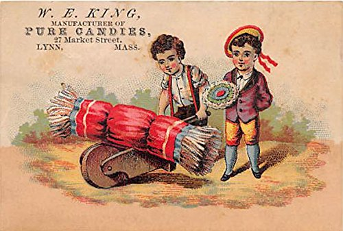 W.E. King Manufacturer of Pure Candies Small trade card, Non postcard backing Lynn Massachusetts ()
