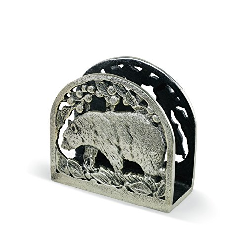 - Black Bear Wildlife Silver Toned 6 x 5 Hand-Cast Aluminum Napkin Holder