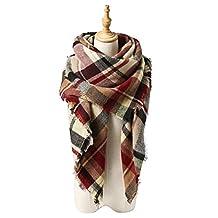 Spring fever Cozy Plaid Long Winter Shawl Lattice Oversized Blanket Scarf Wrap A04