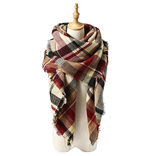 Spring Fever Cozy Plaid Long Winter Shawl Lattice Oversized Blanket Scarf Wrap