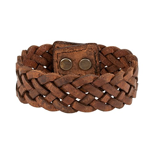Napoli Leather Brown Distressed Vintage Braided Snap Strap Bracelet, 7 (Brown Leather Strap Jewelry)
