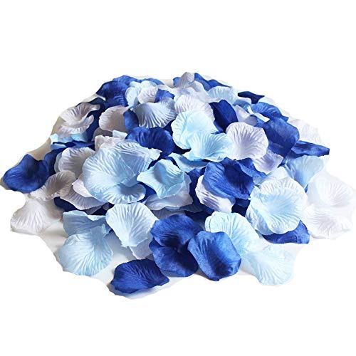 ALLHEARTDESIRES Mixed Royal Blue & Light Blue & White Party Wedding Flowers Silk Rose Petals Party Confetti Bridal Shower Favor (1,200)