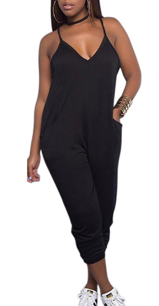 Deloreva Women Casual Jumpsuit Sleeveless Strap V Neck One Piece Romper Harem Pants Playsuit Overalls Black XL