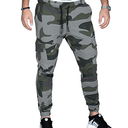 Amiley Men Sweatpants,Men's Camo Pockets Drawstring Waistband Pants Closed-Bottom Sweatpant (Large, Dark Gray) from Amiley Men Sweatpants