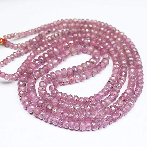 Beads Bazar Natural Beautiful jewellery 2 Strand Necklace Rare Pink Sapphire Faceted Rondelle Gemstone Loose Craft Beads Strand 18