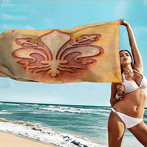 TT.HOME Gym Towel,Fleur De Lis Lily Flower Symbol on Plate Floral Design Royal Arms France Sign Cultural Print,Hotel & Spa Bath Towel,W40x20L, Orange