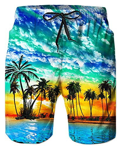 80s Plus Size Printed Adults Swim Trunks Funny Patterned Cool Board Shorts Vintage Bathing Shorts Junior Adjustable Drawstring Beach Shorts with Mesh Lining X-Large ()