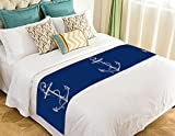 Custom Blue Anchor Bed Runner,Nautical Navy Blue Anchor Bed Runner Bedding Scarf Bed Decoration 20x95 inch