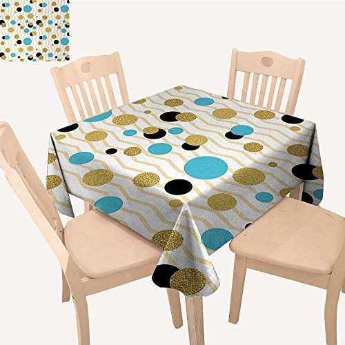 Abstract Jacquard Tablecloth Trippy Geometric Circles Dotted Gold Rounds on Zig Zag Lined Background Artwork Print Dinning Table Covers Aqua W 70