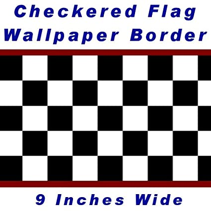 Checkered Flag Cars Nascar Wallpaper Border 9 Inch (Red Edge)
