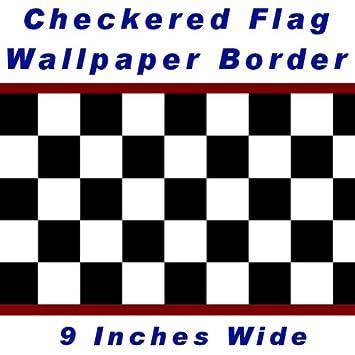 Checkered Flag Cars Nascar Wallpaper Border 9 Inch (Red Edge)
