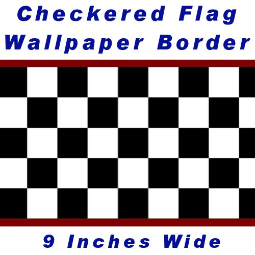 Nascar Border - Checkered Flag Cars Nascar Wallpaper Border-9 Inch (Red Edge)