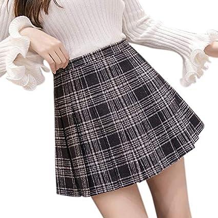 LanLan Falda cuadra de Mujer, Falda de Invierno Alta, Falda de una ...