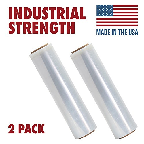 Tough Pallet Shrink Wrap, 80 Gauge 18 Inch X 1000 feet Industrial Strength, Commercial Grade Strength Film, Moving & Packing Wrap, For Furniture, Boxes, Pallets (2-Pack)
