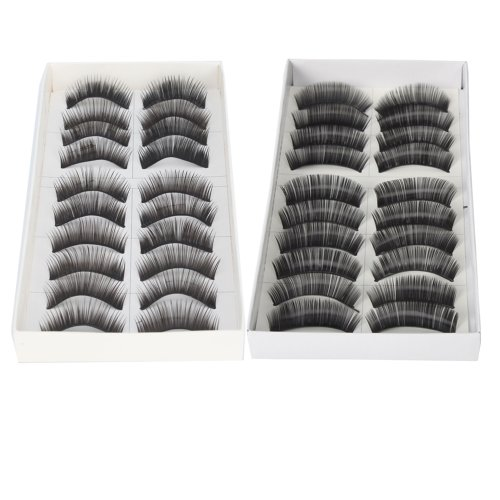 20 Pairs of Black Long Thick Reusable False Eyelashes Fake Eye Lash for Makeup Cosmetic - 2 Kinds of Style by Nails - Gaga Style