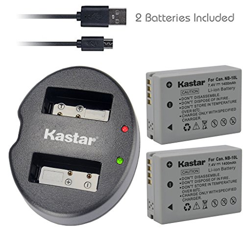 Kastar Battery (X2) & Dual USB Charger for Canon NB-10L, NB10L and PowerShot SX40 HS SX40HS, SX50 HS SX50HS, G1 X G1X, Powershot G15, PowerShot G16 Digital - Nb Led