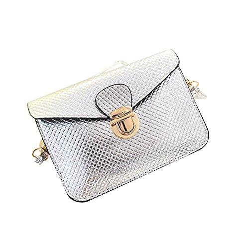 Bolsa de hombro - SODIAL(R) Bolsa de hombro de mensajero de monedero de tela escocesa de cuero de PU mini bolso de telefono celular de estilo de Lolita para mujeres plata