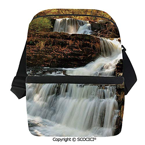 SCOCICI Cooler Bag Upper Falls at Delaware Water Gap Autumn Nature Forest Scenery Cascade Insulated Lunch Bag for Men Women for Kayak,Beach,Travel,Work,Picnic,Grocery