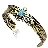 Gold Plated Vintage Tribal Southwest Turkey Eagle Blue Stone Zuni Navajo Aztec Cowgirl Bracelet Bangle Cuff
