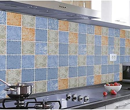 Azulejos Adhesivos Cocina 60X300Cm Cocina Autoadhesiva Impermeable Y Resistente Al Aceite Calcomanías Campana Extractora Cocina Con Adhesivos De Pared Papel De Aluminio Papel De Azulejo Azulejo: Amazon.es: Hogar