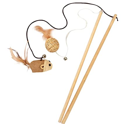amazon com joytour cat teaser interactive cat wood wand with bell