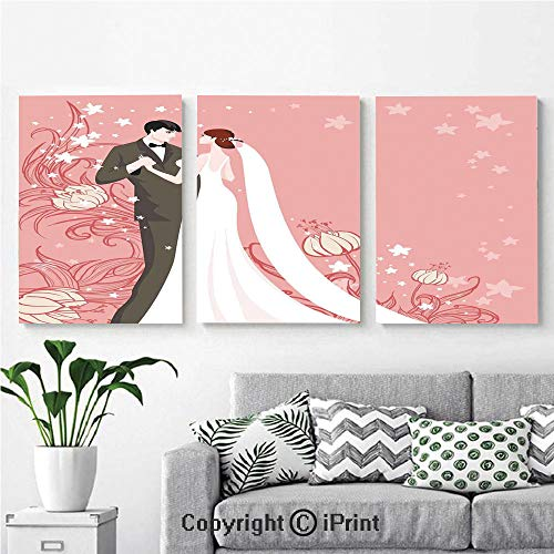 - 3PCS Triple Decoration Painting Wall Mural Bride and Groom Getting Married Dancing on Pink Floral Background Living Room Dining Room Studying Aisle Painting,16