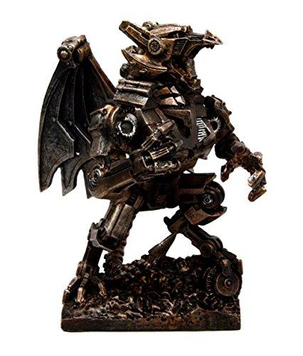 (Steampunk Gearwork Mechanical Robotic Cyborg Winged Dragon Figurine Statue)