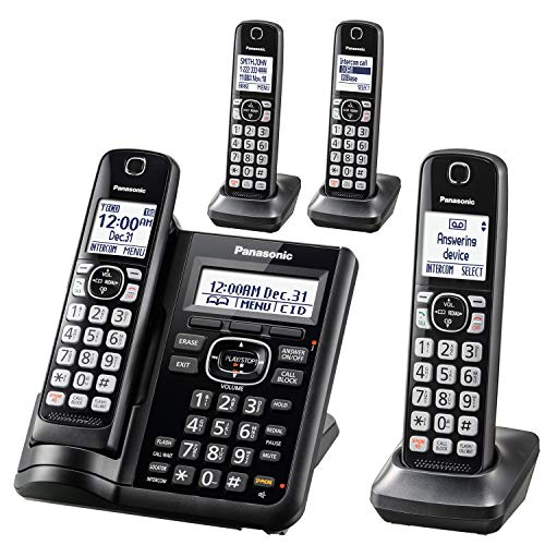 (Panasonic Cordless Phone System with Answering Machine, One-Touch Call Block, Enhanced Noise Reduction, Talking Caller ID and Intercom Voice Paging - 4 Handsets - KX-TGF544B (Black))