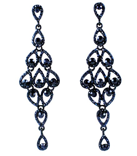Janefashions Drops Austrian Crystal Rhinestone Silver Chandelier Dangle Earrings Bridal E2088 5 Colors (Navy Blue)