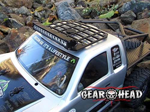 Gear Head RC 1/10 Scale Honcho Slim Line Miniature Roof Rack with Light Bar Mount