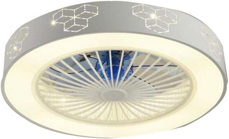 Ventilador de techo con iluminación Cubo de Rubik LED Sala de estar Ventilador de dormitorio Lámpara de techo Velocidad de viento ajustable Tres colores de luz 36w * 2 (Control remoto)