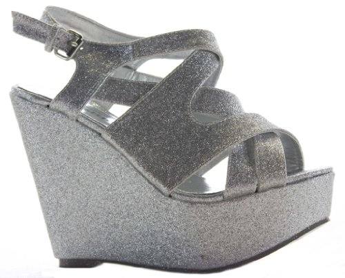 Ladies Strappy High Heel Platform Peeptoe Womens Wedges Sandals Size Wedding Party Evening Black Red Beige Orange Blue Silver Gold Glitter UsVp6