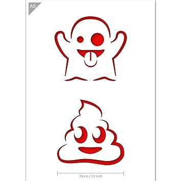 Amazon.com: Emoji plantilla de fantasma y caca – Tarjeta o ...