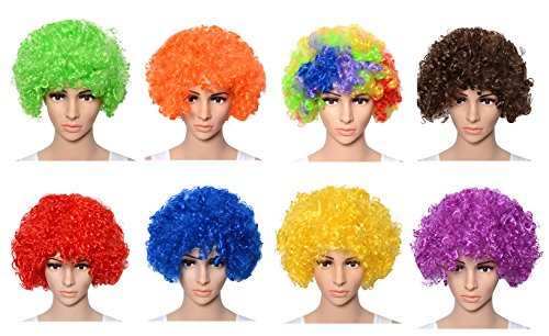 Adult Afro Wig (QBSM Unisex Colorful Costumes Fine Afro Wig Party Humor Value Clown Wigs (Colorful))
