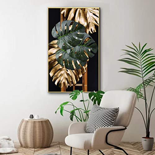 Tropical Leaves Art Prints Tropical Plam Leaf Green Golden Painting Fallen Leaves Art Painting Gallery Wrapped Home Decoration Living Room Office Bedroom 16×24 inches
