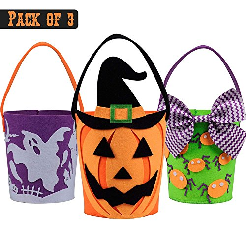 ADSRO 3Pack Halloween Trick or Treat Bag, Felt