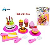 FunBlast 24 Pcs Birthday DIY Cake Pretend Play Toys, Birthday Party Cake Cutting Set Toy for Kids