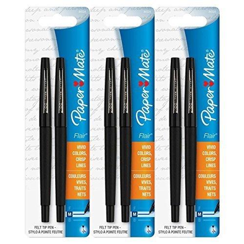 3 Medium Tip - Paper Mate Flair Porous Felt Tip Pens, Medium Point, Black Ink (6 Count)