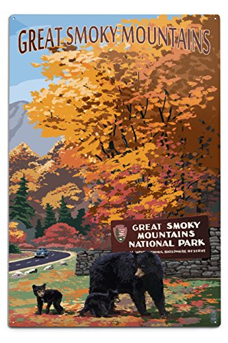 Great Smoky Mountains, Tennessee - Park Entrance and Bear Family (12x18 Aluminum Wall Sign, Wall Decor Ready to Hang)