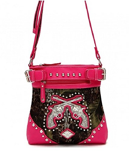 Western Pistols Fuchsia Crossbody Purse Crossed Cowgirl Applique rtwqSrP