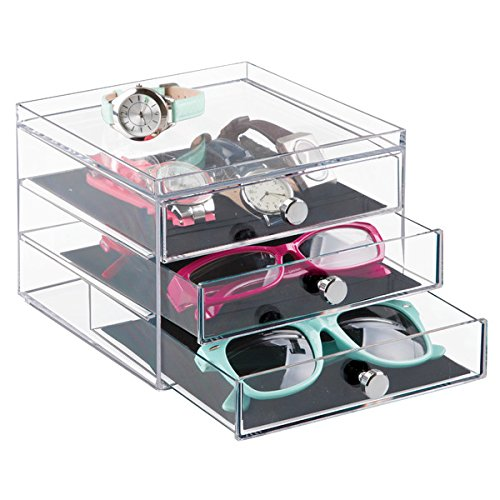 mDesign Stackable Watch & Eyeglass Organizer Holder for Sunglasses, Reading Glasses, Eyeglasses, Watches - 3 Drawers, - Customize Sunglasses