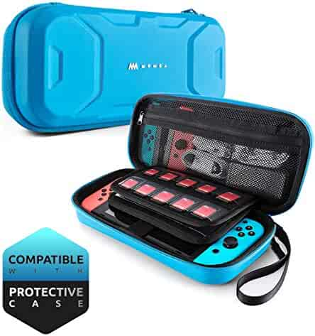 Mumba Carrying Case for Nintendo Switch, Deluxe Protective Travel Carry Case Pouch for Nintendo Switch Console & Accessories [Dual Protection] [Large Capacity] (Blue)