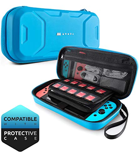 Mumba Carrying Case for Nintendo Switch, Deluxe Protective Travel Carry Case Pouch for Nintendo Switch Console & Accessories [Dual Protection] [Large Capacity] (Blue) by Mumba