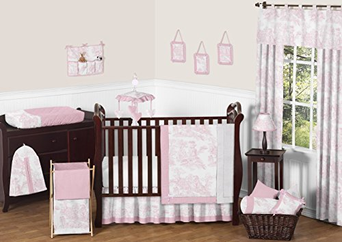 Pink Toile Baby Bedding - Sweet Jojo Designs 11-Piece Pink and White French Toile Baby Girl Bedding Crib Set Without Bumper